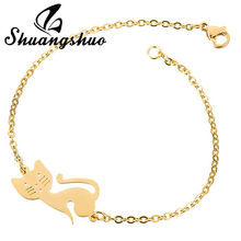 Shuangshuo Animal Cat Charm Bracelets & Bangles Women Gold Jewelry Stainless Steel Cuff Bracelet Weeding pulseras bijoux femme(China)