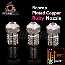 Trianglelab T V6 ชุบทองแดงทับทิมหัวฉีดReprap V6 Hotend Ultra Highอุณหภูมิใช้งานร่วมกับPETG ABS PEI PEEKไนลอน