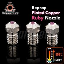 Trianglelab boquilla de rubí de cobre Chapado en T V6, Reprap v6 hotend, Ultra alta temperatura, Compatible con PETG ABS PEI PEEK, nailon