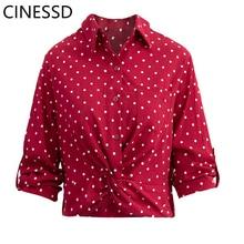 CINESSD Bohemian Dot Turn-down Collar Women Shirt 2019 Summer Casual Red Sun Regular Three Quarter Tops
