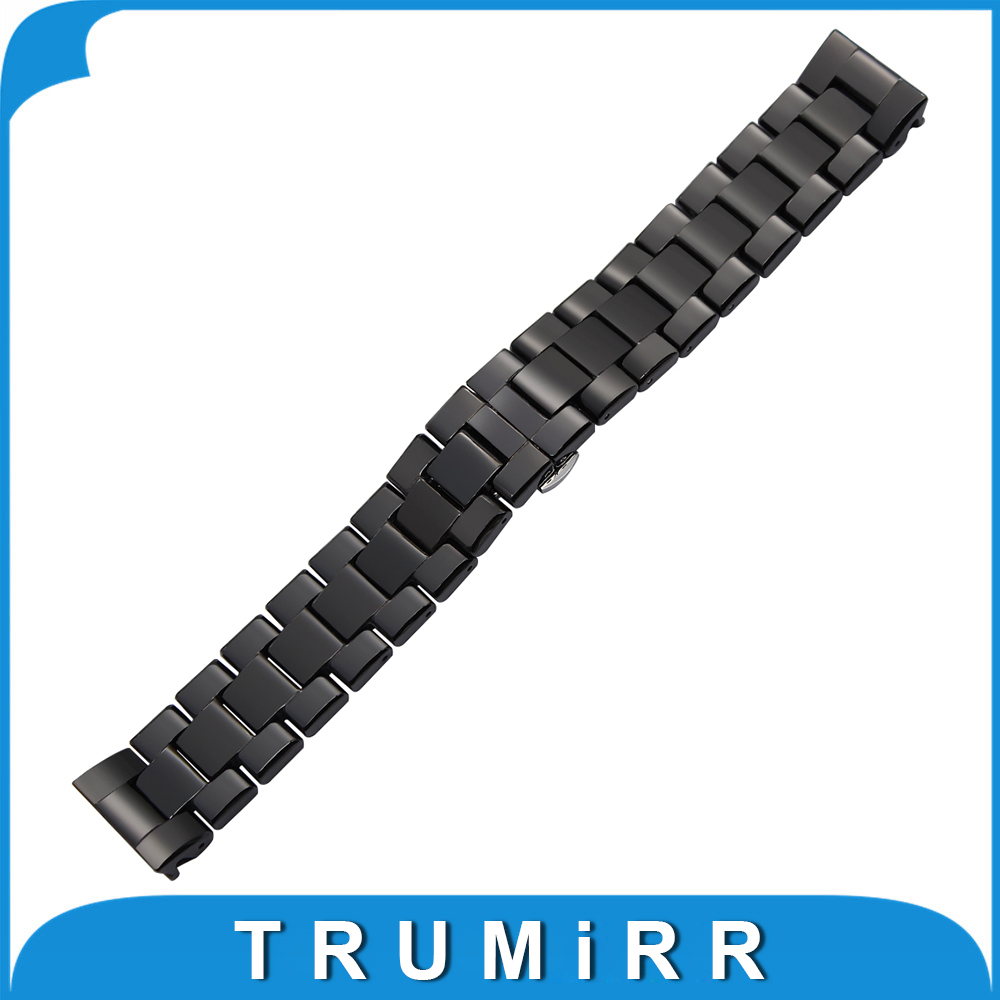 Ceramic Watchband 18mm 22mm for Armani AR1406 AR1407 Square Watch Band Butterfly Buckle Strap Wrist Belt Bracelet + Link Remover silicone rubber watchband double side wearing strap for armani ar watch band wrist bracelet black blue red 21mm 22mm 23mm 24mm