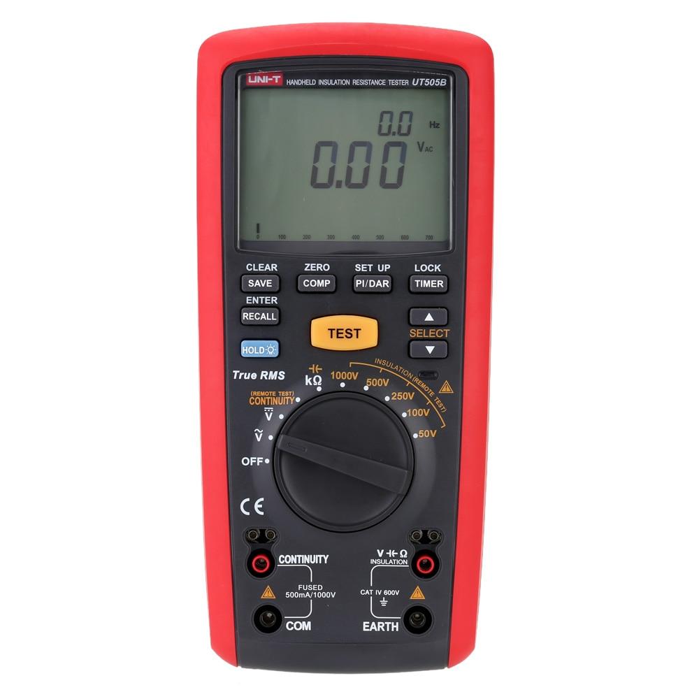 Handheld UT505B Ручной цифровой тестер сопротивления изоляции AC/DC измерение напряжения 200 г Ом 1000 в