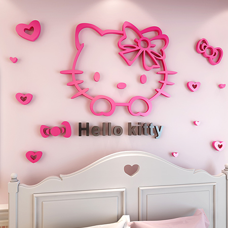3D Creative Hello Kitty Mirror Surface Wall Sticker For Kids Rooms Bedrooms  Acrylic Mural Poster Home