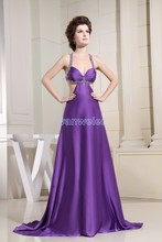 free shipping 2014 new design fashion girls dresses small train lace brides maid custommade sexy purple evening