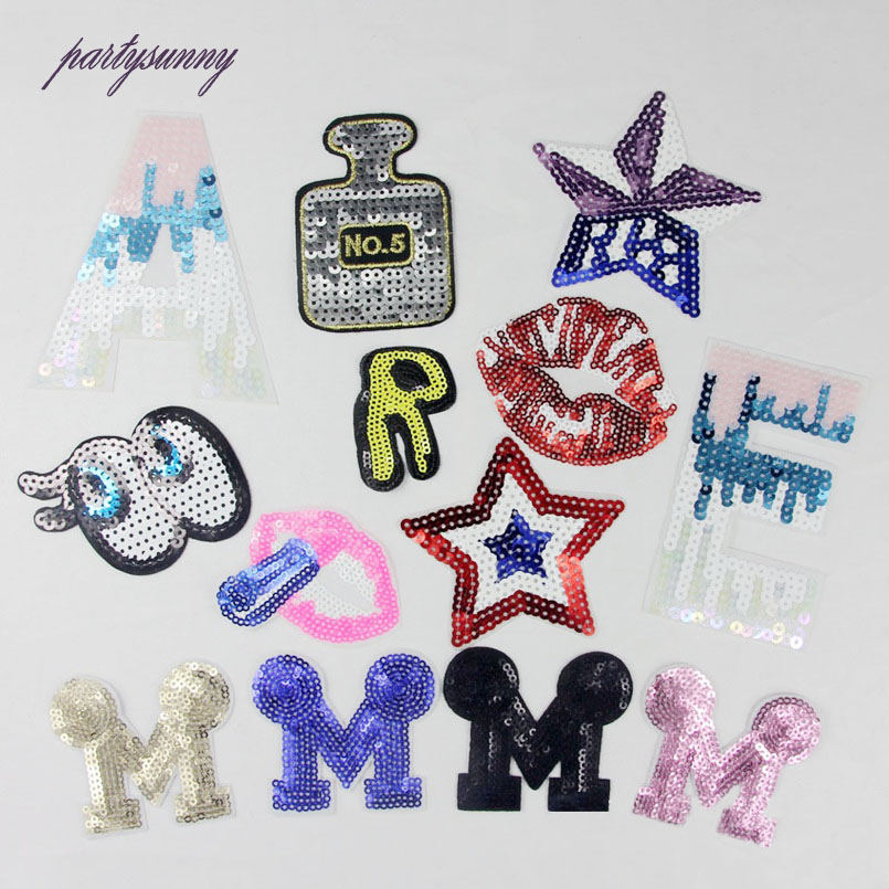 13pcslot sequins patch star letter patches badge diy clothing applique accessory crafts for clothes
