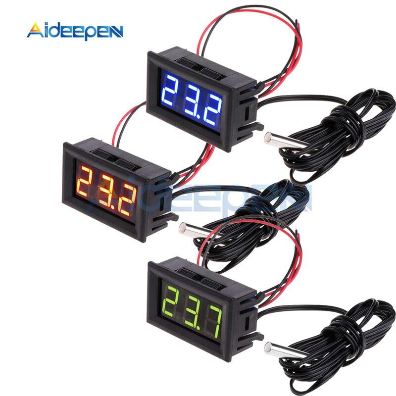 -50~110C LED Temperature Meter Detector Sensor Probe 12V Digital Thermometer Monitor Tester For Aquarium Industrial Equipments