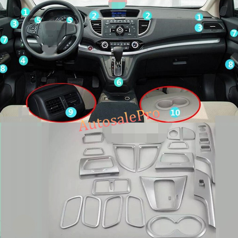 20 pièces intérieur tableau de bord accessoires Kits climatisation porte accoudoir support de verre couvercle garniture pour Honda CRV CR-V 2015 2016