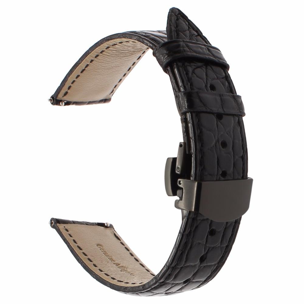 Bracelet de montre en cuir véritable Alligator pour Samsung Gear S3 Bracelet de montre frontière classique Bracelet de fermeture rapide Bracelet fermoir papillon - 5