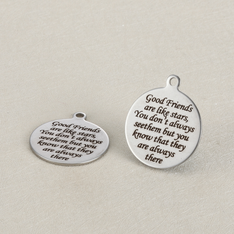 BULK 30 High Polished Stainless Steel Best Friends Friendship Quote Charms Words Engraved Pendant 25mm image