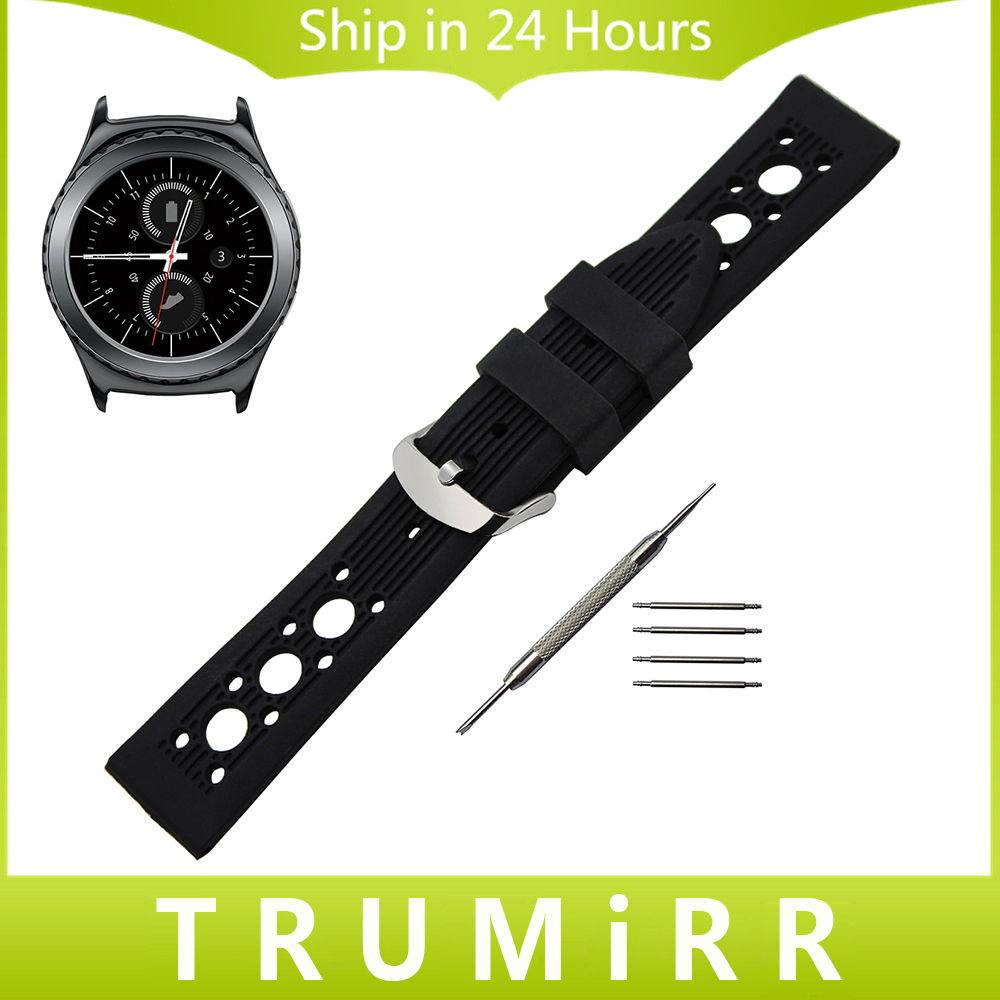 20mm Silicon Rubber Watch Band for Samsung Gear S2 Classic R732 R735 Moto 360 2 42mm Men Stainless Steel Buckle Strap Wrist Belt excellent quality 20mm quick release watch band strap for samsung galaxy gear s2 classic stainless steel strap bracelet