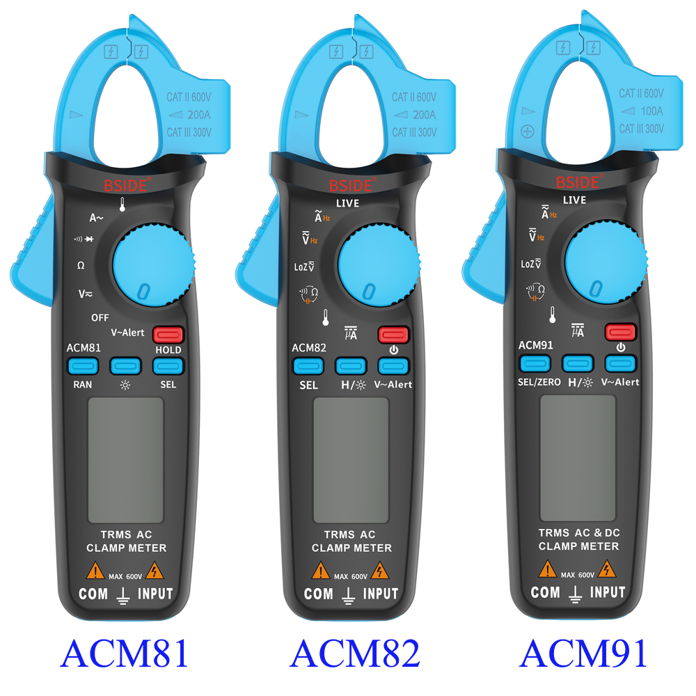 True RMS Digital Clamp Meters BSIDE ACM81/82/91 Auto Range Handheld Multimeter 1mA Resolution DC/AC Current Voltage Tester