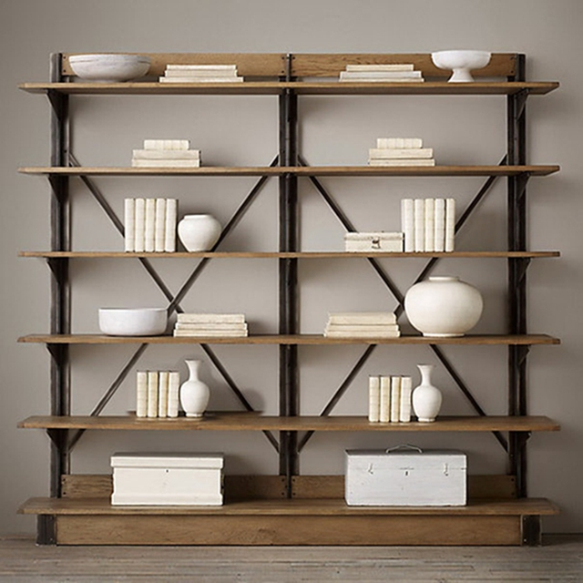 Vintage French Country Style Wrought Iron Shelves Loft Do The Old Wood Bookcase Shelving