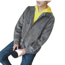 Men's Casual jackets 2017 cotton Retro Denim coats Corduroy Stand collar Outerwear jaqueta masculina Coat parka Men's Clothing
