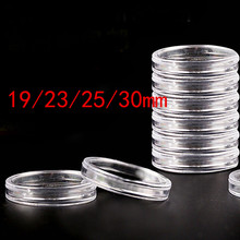 10 Pcs/set Plastic Clear Round Coin Storage Photo Holder Cases 19/23/25/30mm