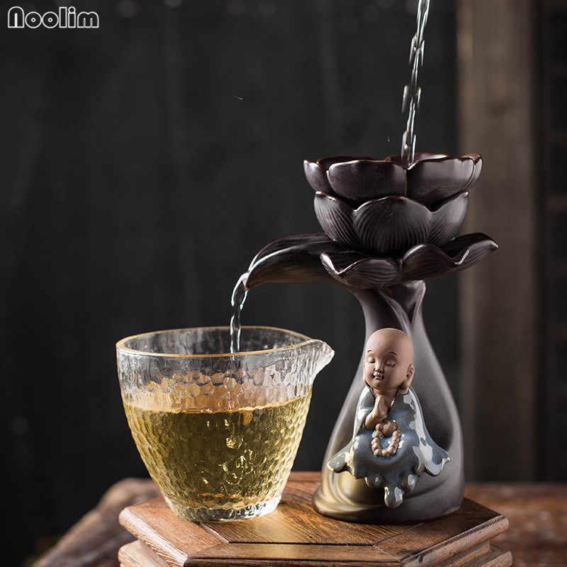 NOOLIM Criativo Cerâmica Chá Coador De Chá De Lótus Kung Fu Pequeno Monge Vazamento Erva Spice Filtro Difusor Aparelhos de Cozinha Filtro de Café