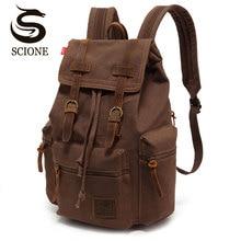 Scione, mochilas de viaje Vintage, mochilas de lona a la moda para hombres, mochila escolar con cordón para portátil, bolsas de hombro Retro para adolescentes de gran capacidad