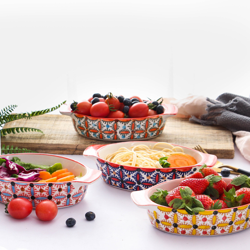 Western Salad Dishes: Ceramic Hand Painted Baking Dishes Pizza Tray Western Food