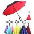 Обратный зонт для мужчин и женщин  складной двухслойный перевернутый ветрозащитный автомобильный Зонт от дождя с ручкой  бизнес-подарок