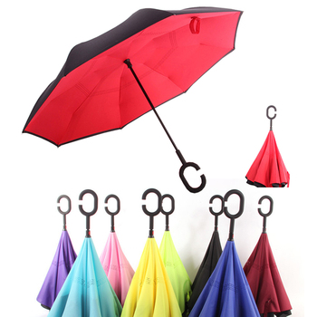 Reverse Umbrella Man And Woman Folding Double Layer Inverted Windproof  Windproof Car Rain C Handle Umbrellas Business Gift