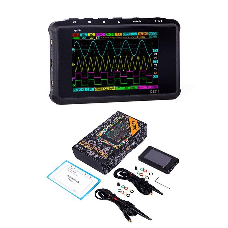 DS213 MINI 4 Canal Digital Oscilloscope 100 MS/S USB Display LCD Oscilloscopio Pocket-Sized Osciloscópio De Armazenamento