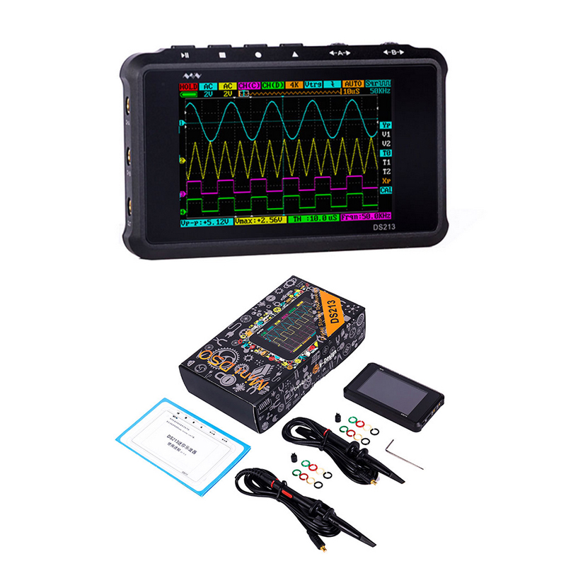 DS213 MINI Digital Oscilloscope 4 Channel 100MS/S LCD Display USB Oscilloscopio Pocket-Sized Storage Oscilloscope