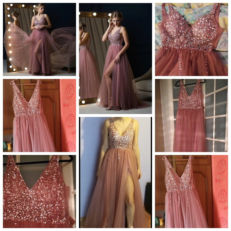 V neck Pink Beading Prom Dress Sleeveless Evening Gown
