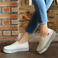 Black White Women Casual shoes Platform Flat Canvas shoes High Quaity Slip on Loafers Ladies shoes Thicken Heel Walking shoes