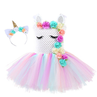 2019 Girls Summer Dress Unicorn Costume tutu Dresses Child for Kids 2 8Y Birthday Party Children's Clothes
