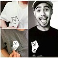 Valentine Gift Personality Men Women Funny Pocket Cat Cute Kawaii Couples T Shirt Tops Blouse For Lovers Size S-4XL Freeshipping