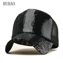 RUHAO 2019 Ponytail Baseball Cap Women Messy Bun Snapback Summer Mesh Hats Casual Sport Caps Drop Shipping Adjustable