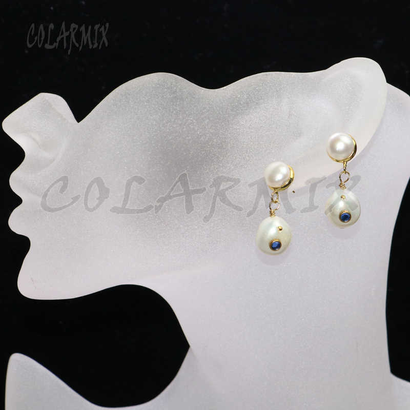 5 pairs natural pearl dangle earrings,fresh water pearl stone earrings,small charm earrings with micro paved zircon beads 9360