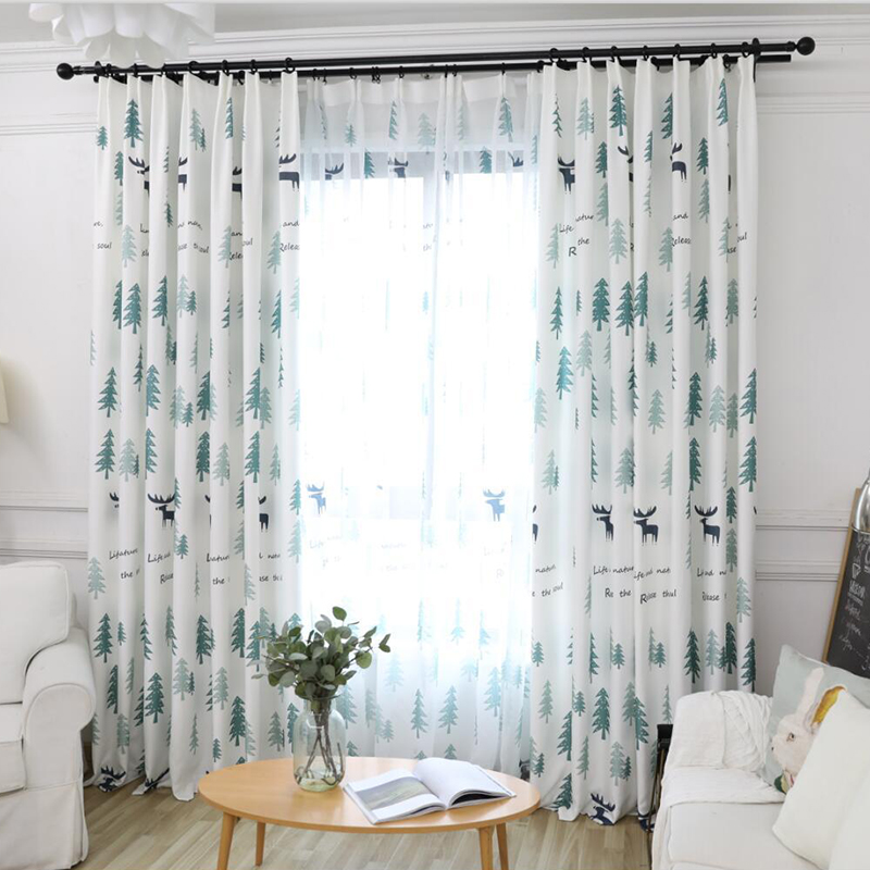 Modern Simple Green Pine Forest Blackout Curtains For Living Room Cartoon Cute Deer For Children's Bedroom Window Treatments AH8