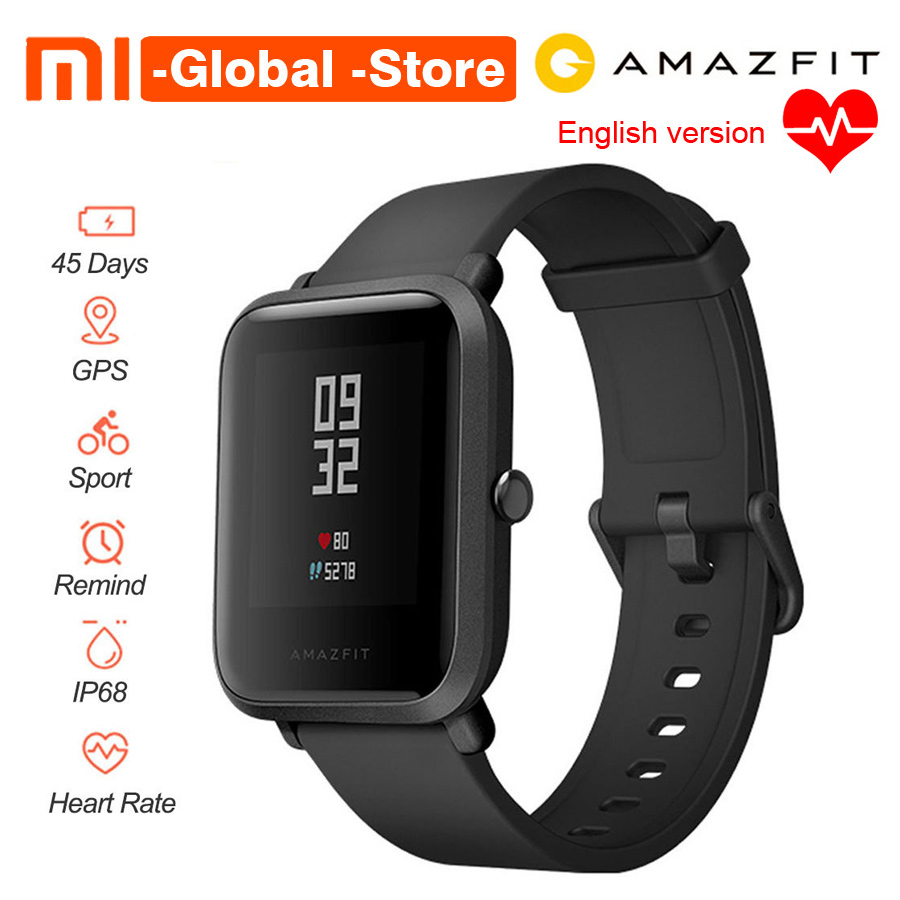 [English Version] Xiaomi Huami Amazfit Bip BIT PACE Lite Youth Mi Fit IP68 Waterproof Glonass Smart Watch+GPS English Language xiaomi mi 8 se 4g phablet english and chinese version