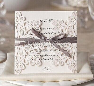 Elegante Laser Cut Hochzeitseinladungskarten Spitze Floral Satin ...