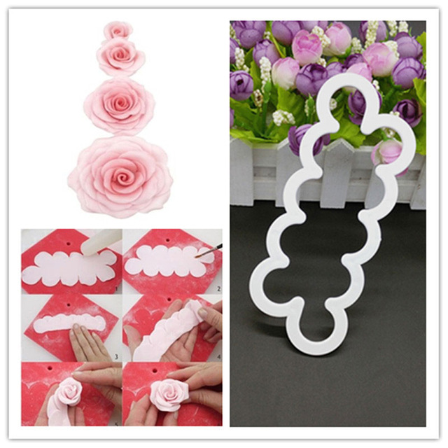 12pcs Flower Rose Fondant Decor Plunger Cutter Cookie Pastry Mould Mold Q