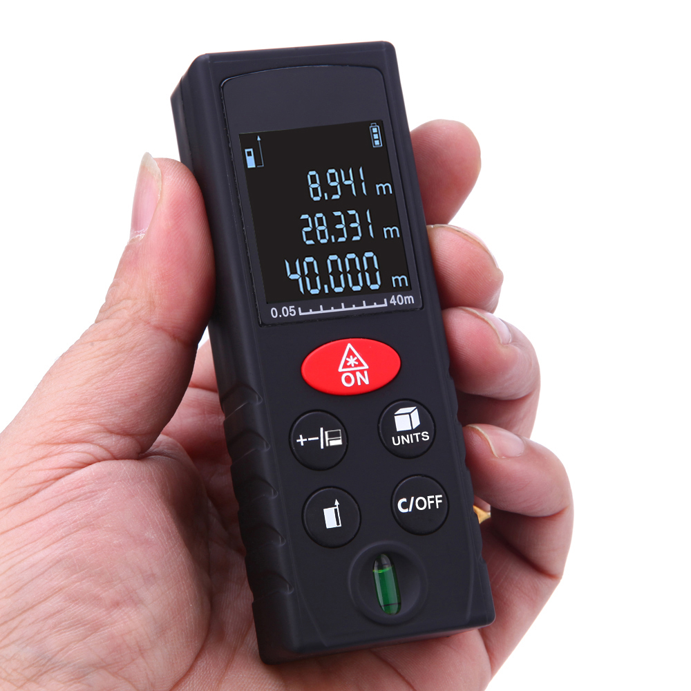 цены 40/60/80/100M laser rangefinder Digital Laser Distance Meter High Precision Range Finder Area Volume Measure tool Level Bubble