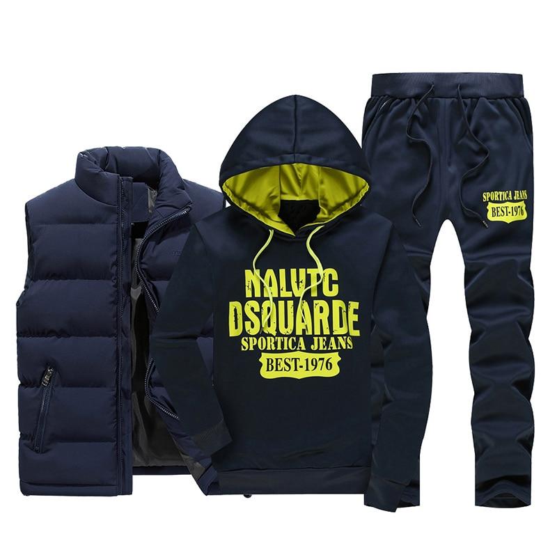 2018 new winter men's suite three piece men's fitness clothing casual fashion men's sportswe (jackets+vest+pants) M 5XL