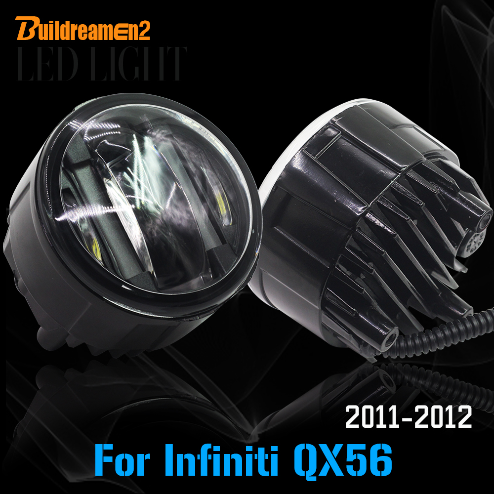 Buildreamen2 1 Pair Car Right + Left Fog Bulb LED Light Daytime Running Lamp DRL 12V Styling For Infiniti QX56 2011 2012 2pcs auto right left fog light lamp car styling h11 halogen light 12v 55w bulb assembly for ford fusion estate ju  2002 2008
