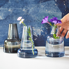 Europe Lighthouse glass vase Gray/blue Castle Glass Handmade Small flower vases Hydroponics containers home office decoration