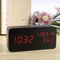 Wooden Table Alarm Clock Display Modern Electronic Digital LED Clock Thermometer Calendar Alarm Clocks Watch With Nightlight USB