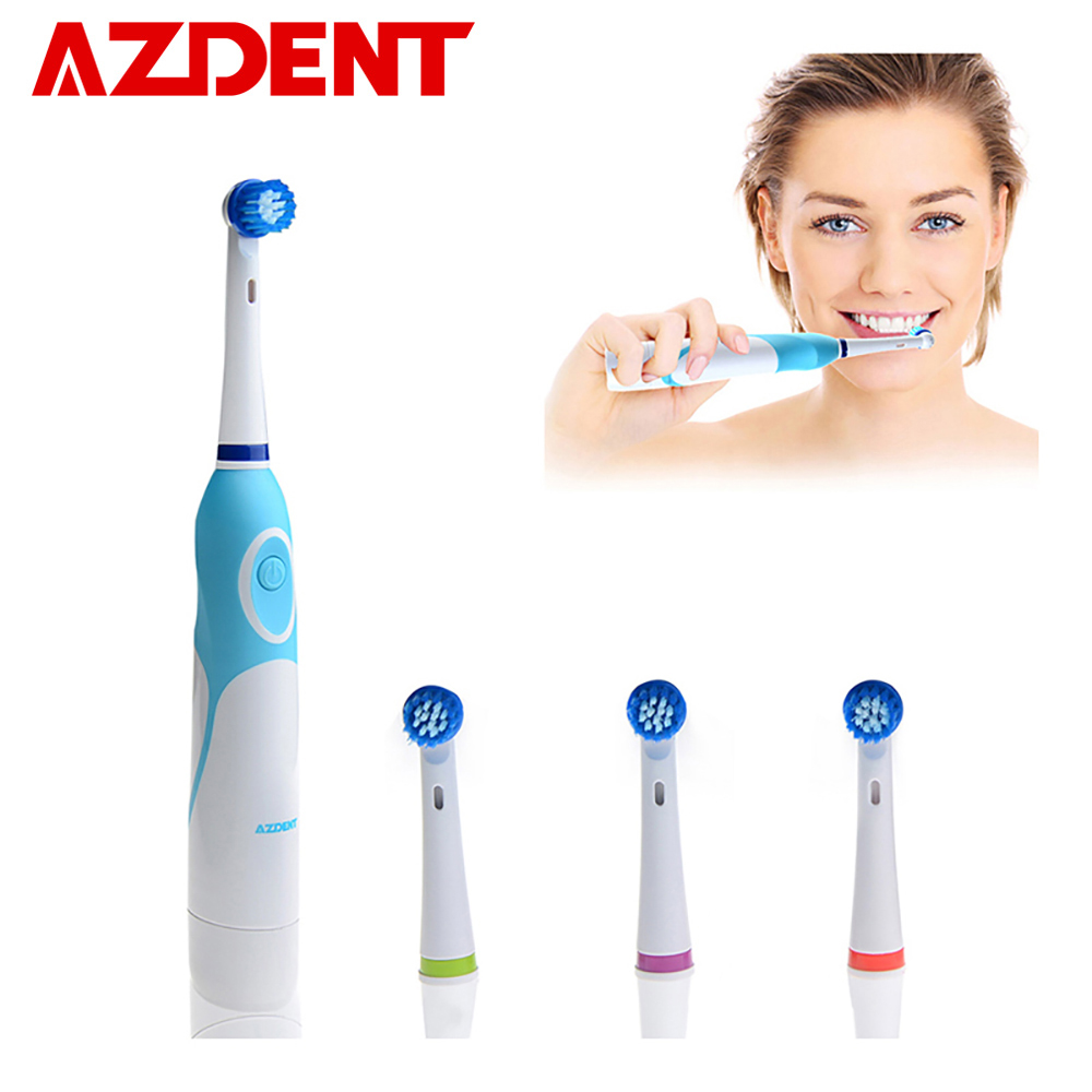 AZDENT de cepillo de dientes eléctrico opera con batería, con 4 cabezas de cepillo de higiene Oral productos de salud No recargable cepillo de dientes