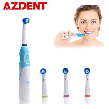 AZDENT elektryczna obrotowa szczoteczka do zębów zasilanie bateryjne z 4 głowice szczotek higiena jamy ustnej produkty zdrowotne nie szczoteczka do zębów z akumulatorem tanie i dobre opinie 27*11CM Elektryczne szczoteczki do zębów AZDENT AZ-OC2 Dorosłych 1 Electric Toothbrush+4 Brush Heads Typu obrót Adults young people