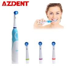 Brosse à dents électrique rotative AZDENT piles avec 4 têtes de produits d'hygiène buccale sans Rechargeable