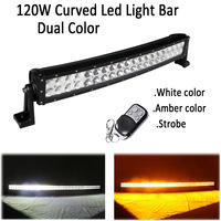 22 120W Led Curved Work Light Bar Dual Color Swtiched White /Amber,Green,Blue,Red,Stroboflash Remote Offroad Driving Warning