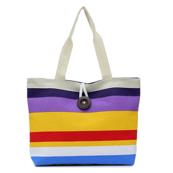 Shopping Striped Shoulder Canvas Bag Simple Handbag 1