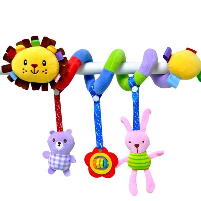 Baby Plush Rattle Crib Spiral Hanging Mobile Infant Stroller Bed Animal Toys Gift For Newborn Children 0-12 Months Giraffe BedBaby & Toddler Toys