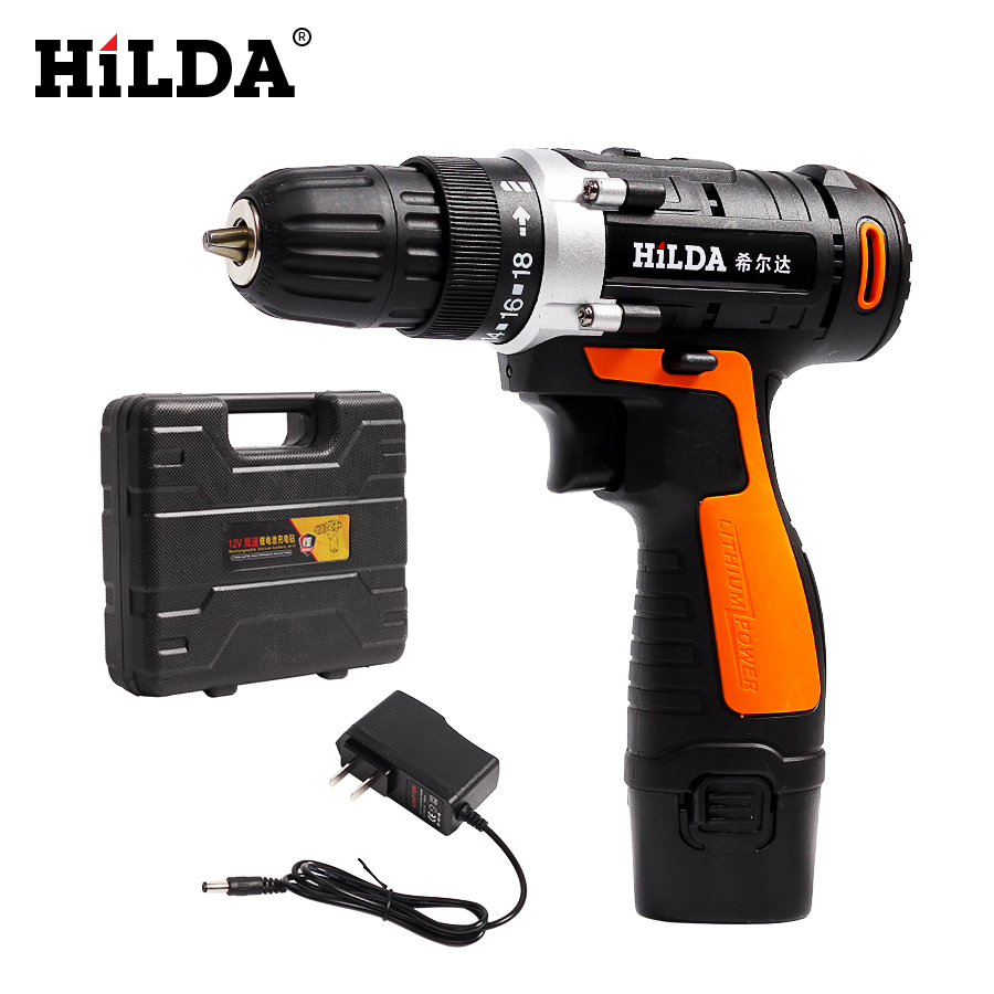 HILDA cordless drill screwdriver Lithium Battery Electric Drill Furadeira Cordless Screwdriver Power Tools with Plastic case human anatomical duodenum gall bladder disease anatomy medical model teaching resources