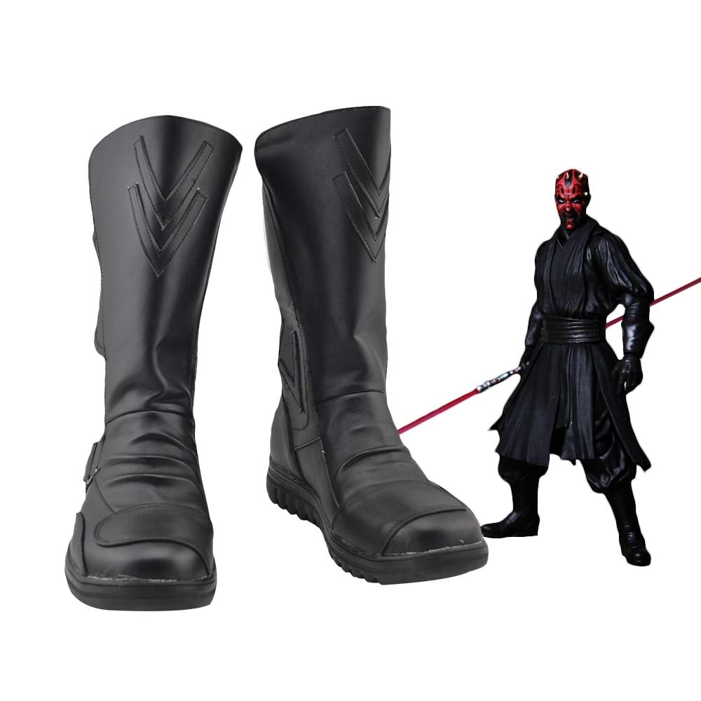 Darth Maul Star Wars Cosplay Black Shoes Boots Custom Made Halloween Cos Boots#F