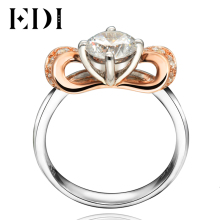 EDI Fairy Style 0.8CT Round Cut Moissanite Diamond Wedding Rings 14K 585 Rose White Gold Engagement Bands Fine Jewelry Gifts