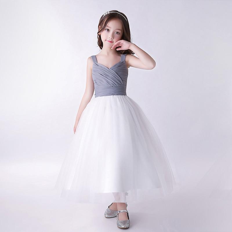A-Line Princess Style Dress For First Communion Dress For Girls Tulle Ankle-Length Sleeveless Flower Girls Dresses For Weddding jewel neck sleeveless floral print a line belted dress